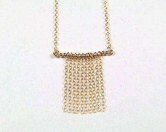 Unique Gold Filled Chain Curtain Necklace - N500