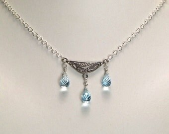 Blue Topaz Sterling Silver Necklace - N522
