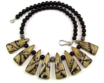Chinese Painting Jasper Necklace - N517