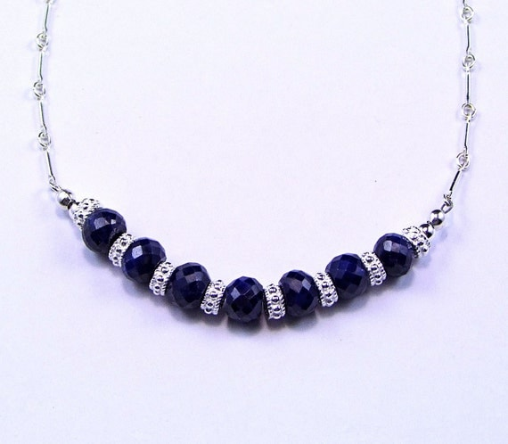 Natural Blue Sapphire Necklace - N342A