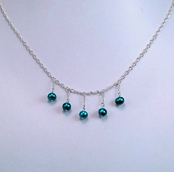 Teal Blue Freshwater Pearl Sterling Necklace  - N379