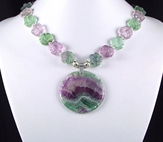 Stunning Rainbow Fluorite Sterling Silver Necklace - N454