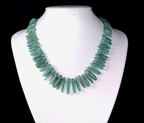 Gorgeous Teal Kyanite & Sterling Silver Necklace - N470