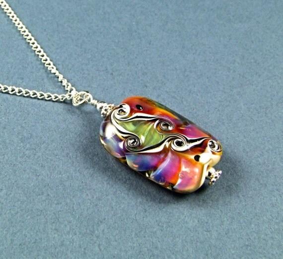 Stunning OOAK Handmade Boro Glass Bead Necklace - N493