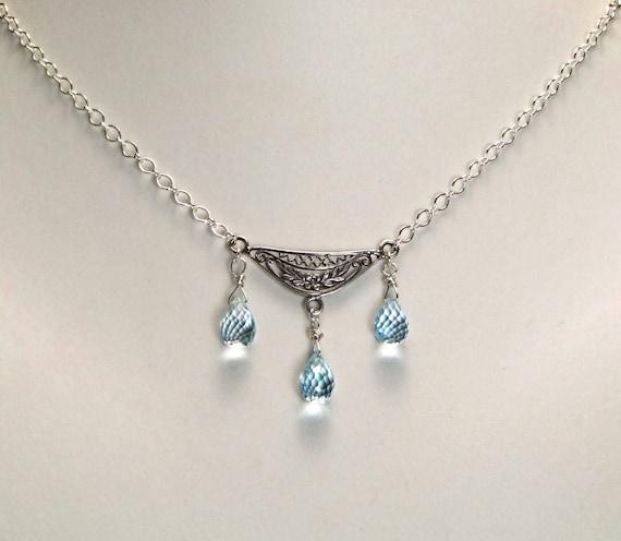 Blue Topaz Sterling Silver Necklace - N522