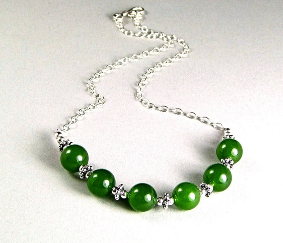 BC Nephrite Jade Sterling Silver Necklace - N457