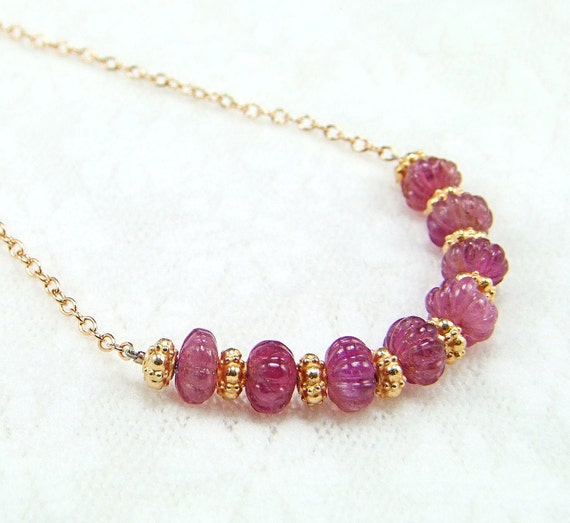 Carved Pink Tourmaline Necklace - N550