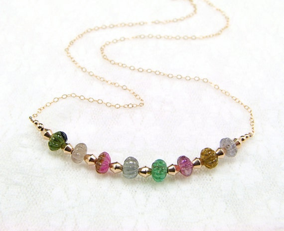 Multicolor Carved Tourmaline on Gold Fill Necklace - N551
