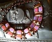 W GERMANY Fabulous ART Deco Unusual Pink Orange Glass Beads Choker Necklace Runway Vintage Jewelry artedellamoda SALE was 60