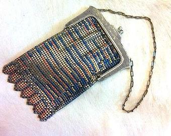 Whiting and Davis 1920s Antique enameled Metal mesh bag multicolored antique purse Designer Orange Blue Metallic Bag artedellamoda