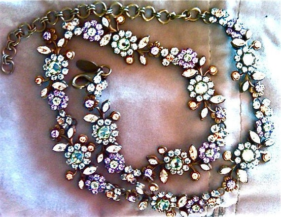 SORRELLI rhinestone colorful pastels feminine necklace vintage jewelry artedellamoda SALE was 155
