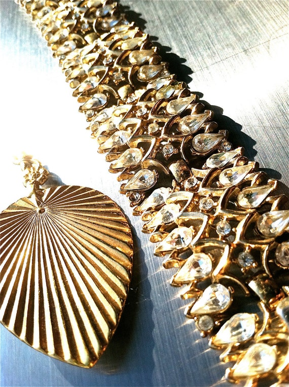 "TRIFARI signed golden diamond rhinestone wide link bracelet vintage designer jewelry collectible marked stamped artedellamoda ""as is"""