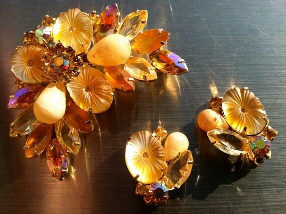 JULIANA D E demi parure set clip on earrings brooch pin Vintage Designer Jewelry Verified artedellamoda SALE was 145