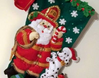 FINISHED Bucilla Stocking-Fireman Santa