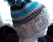 Adult Pom Pom Stocking Cap--- Grey, Speckled White and Blues.