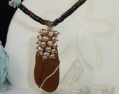 Sea Glass Beaded Necklace w/ Fresh Water Pearls