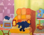 """Cat ART, Colorful Oil on canvas, 20""""x22"""" """"Edie x 2"""" feat. in Times Square NYC"""