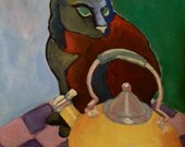 KITTY and the KETTLE, Cat Gouache Painting on Canvas Paper