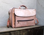 Vintage Distressed Tan Large Satchel Briefcase w/Shoulder Strap