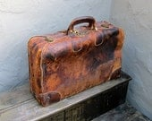 Vintage 1930s Worn In Tan Leather Steamer Suitcase Decorative Travel Bag