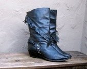 Vintage Fringed Studded Black Leather Boho Boots Ladies Size 8