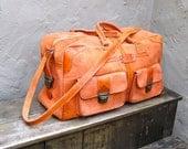 Vintage Orange Sherbet Suede Large Duffle Travel Bag w/Shoulder Strap