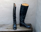 Vintage Black Leather Knee High Equestrian Riding Boots Ladies Size 6-6.5 - Trustfund21