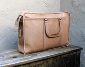 RESERVED for heartandmachine Vintage Distressed Beige Leather Work Laptop Satchel By Harve Benard