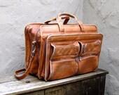 Vintage Distressed Tan Leather Satchel Briefcase Workbag w/Shoulder Strap