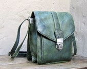 Vintage Distressed Small Forest Green Leather Satchel Cross Body Bag