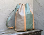 Vintage Color Block Taupe and Sea Foam Green Drawstring Knapsack