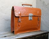 Vintage Textured Tan Leather Satchel Briefcase Work Bag