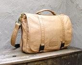 Vintage Distressed Tan Leather Expandable Messenger Bag