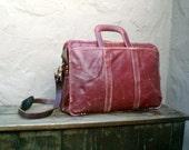SALE Vintage Distressed Wine Colored Leather Medium Briefcase Satchel w/Shoulder Strap