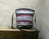 SALE Vintage Black Tribal Medium Bucket Tapestry Shoulder Bag