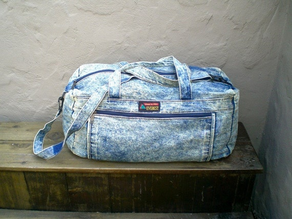 Vintage Acid Wash Denim Large Duffle Bag 1980-90's w/Shoulder Strap by Everest