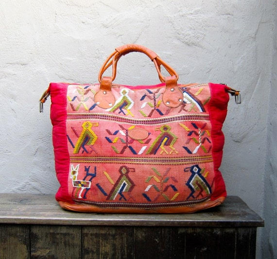 Vintage Giant  Embroidered Birds Navajo Ethnic Lightweight Travel Tote