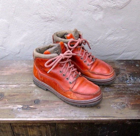 Vintage Worn In Cognac Leather Timberland Hiking Granny Boots Ladies Size 7