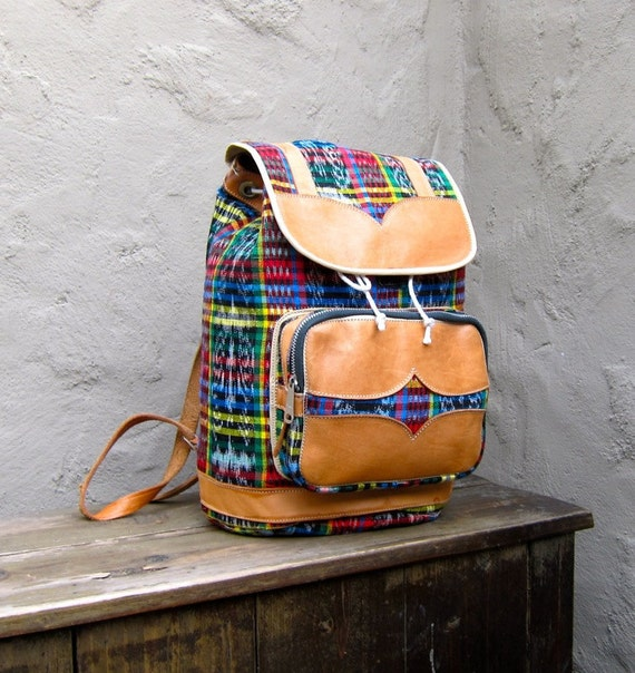 Vintage Ethnic Plaid and Tan Leather Medium Rucksack Backpack