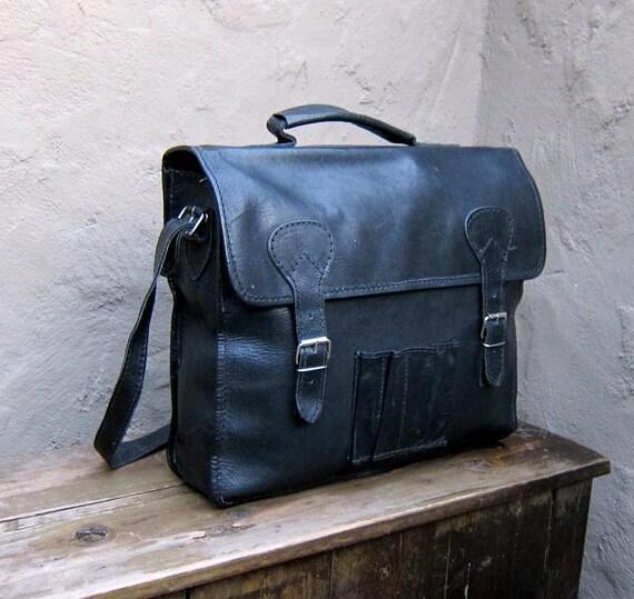 Vintage Black Leather Medium Satchel Messenger Bag