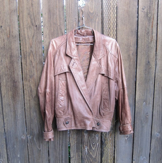 SALE Vintage Worn In Buttery Soft Mocha Leather Bomber Double Breasted Trench Jacket Ladies OSFM