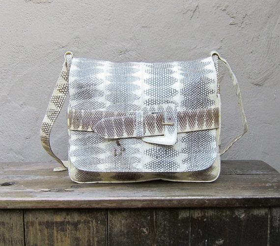SALE Vintage Embossed Snakeskin Leather Cross Body Bag