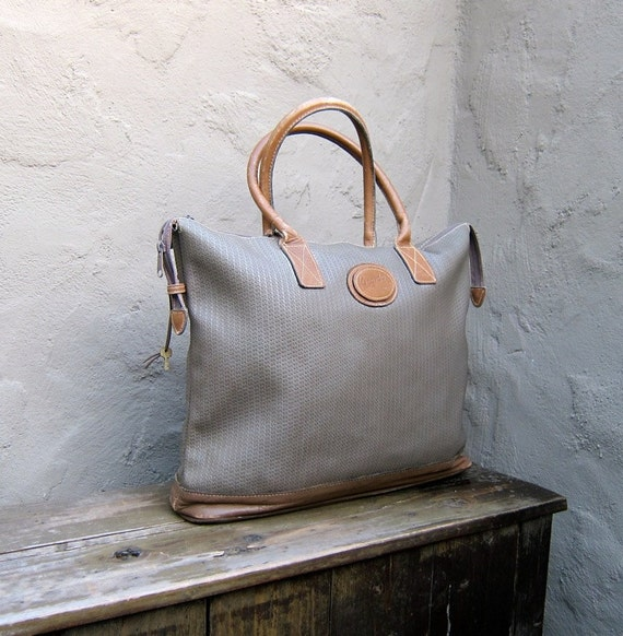 Vintage Large Taupe Coated Canvas and Leather Work Tote by Ricardo of Beverly Hills