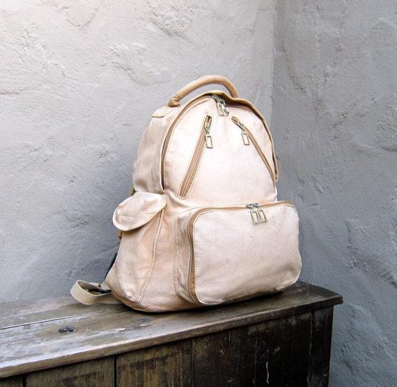 Vintage Pale Tan Distressed Medium Leather Backpack