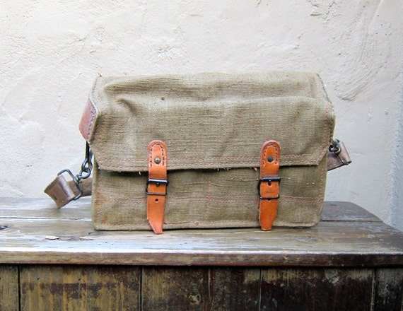 Vintage Rugged 1950's French Military Army Canvas and Leather Satchel Messenger Bag