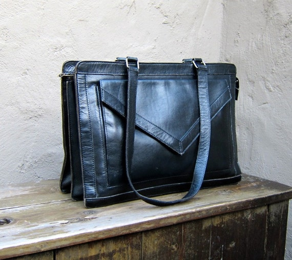 Vintage Black Leather Classic Tote Bag