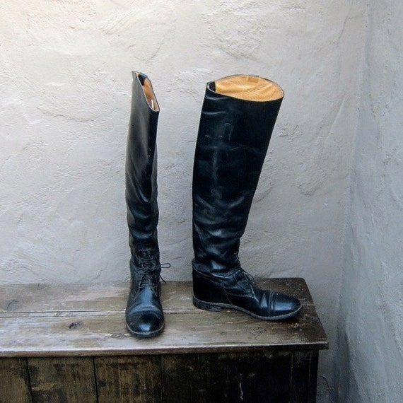 RESERVED Vintage Black Leather Knee High Equestrian Riding Boots Ladies Size 6-6.5