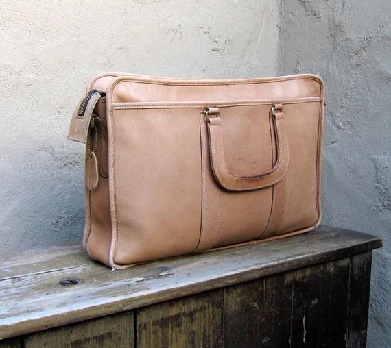RESERVED for heartandmachine Vintage Distressed Beige Leather Work Laptop Satchel By Harve Benard