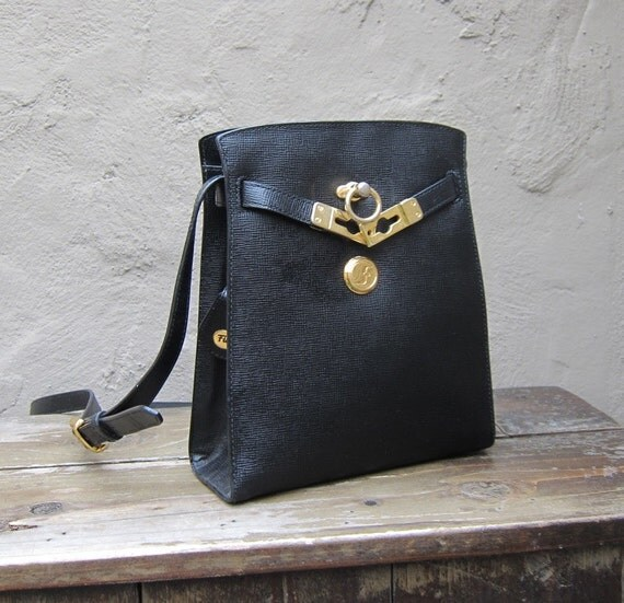Vintage Black Textured Leather Birkin Kelly Style Cross Body Bag by Firina