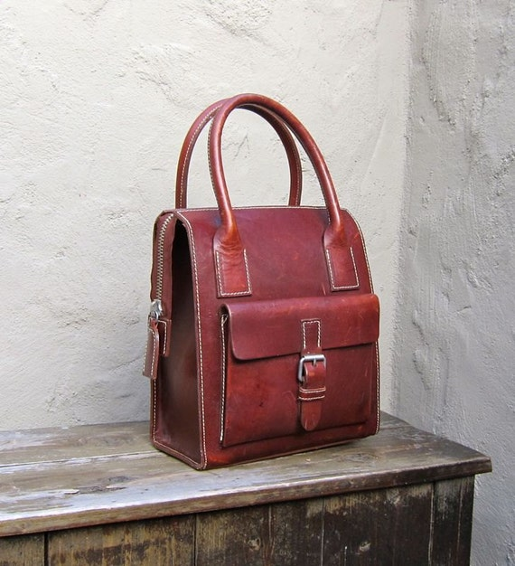 Vintage Structured Chocolate Brown Satchel Tote w/Cream Saddle Stitching